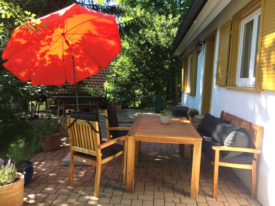 Terrace with high-quality garden furniture