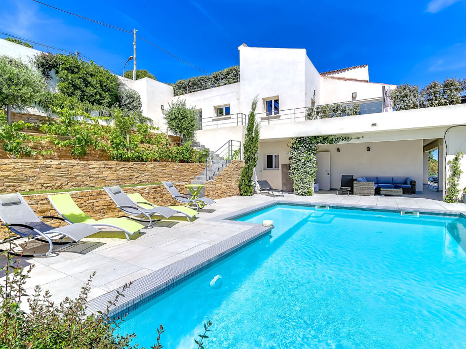 View from pool to villa & terrace