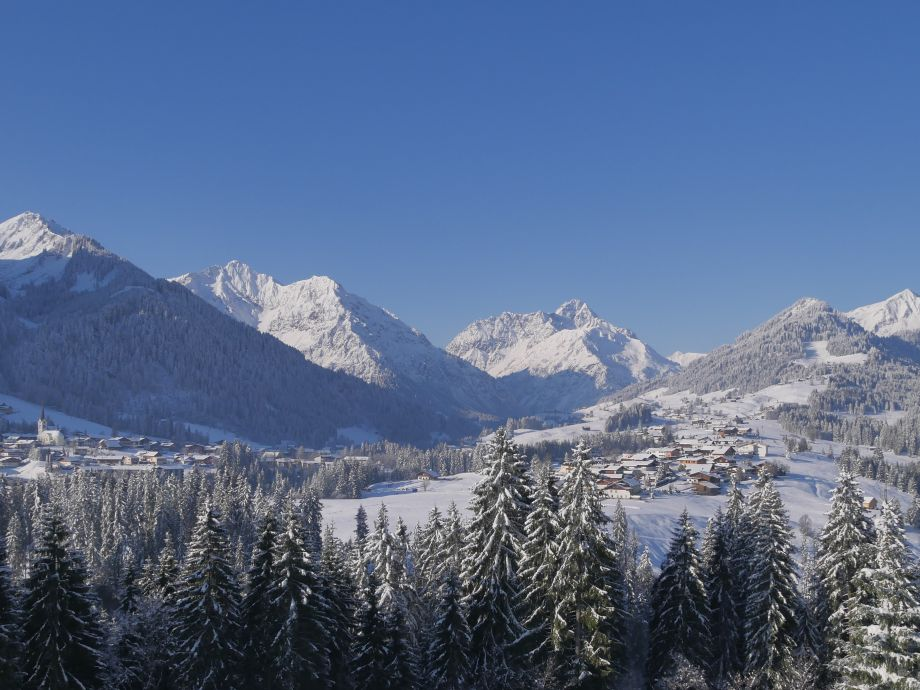 Panoramic view from the balcony in winter