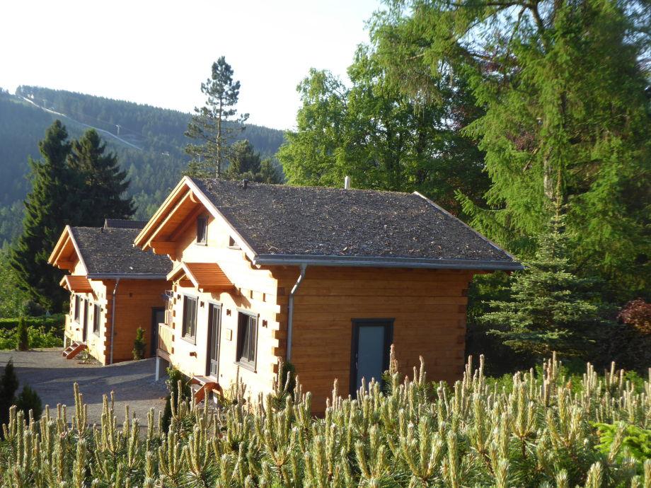 Außenaufnahme 5-Sterne Blockhaus Harmonie Hütte Ferienhaus