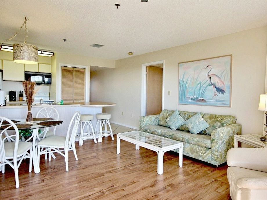 Open living concept. Living room and dining area