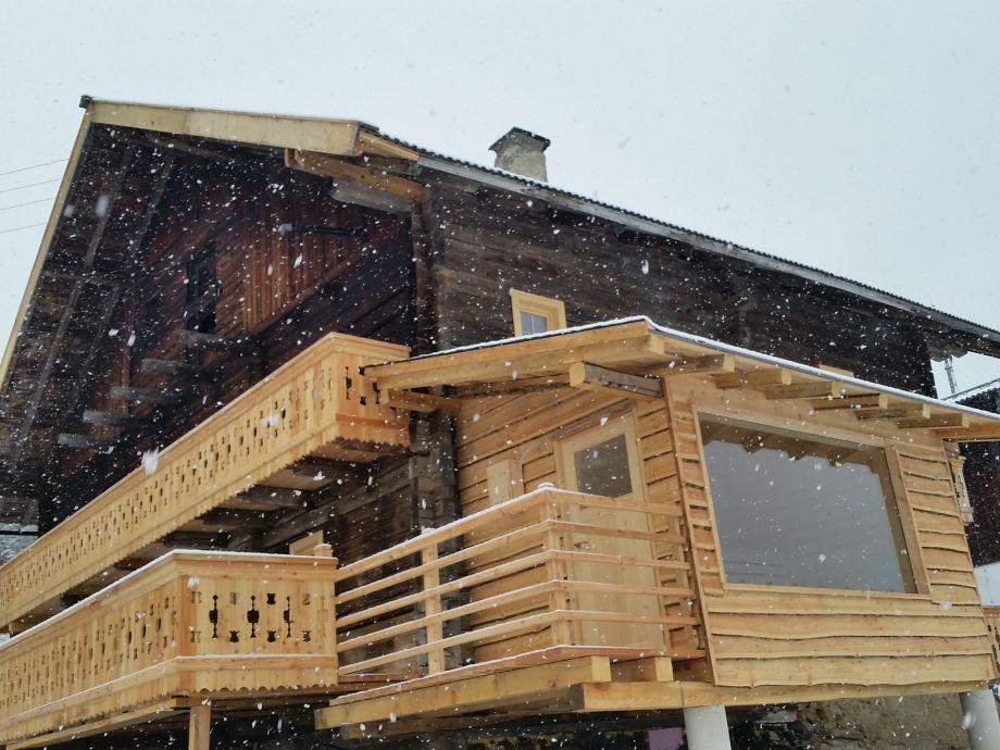 Bauernhaus Heimatsberg mit Blick auf Sauna u. Terrasse