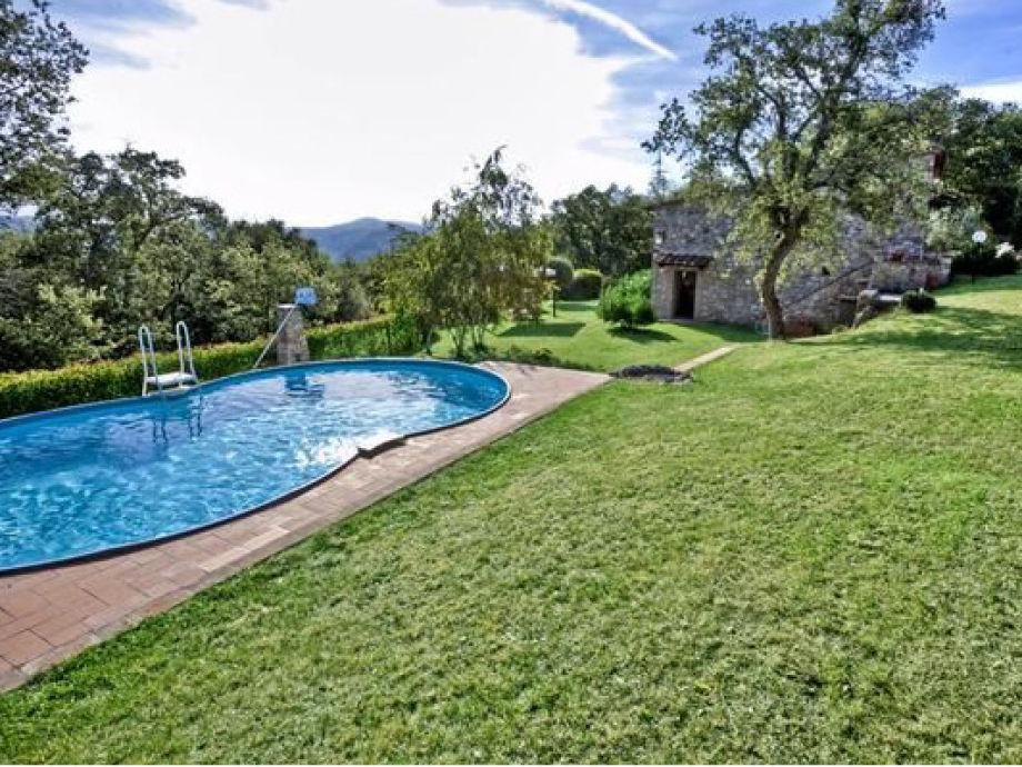 Ausblick auf Pool und Garten