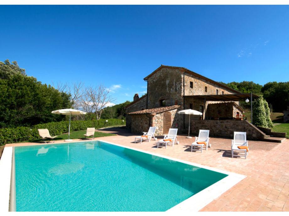 Ansicht Ferienhaus mit Pool