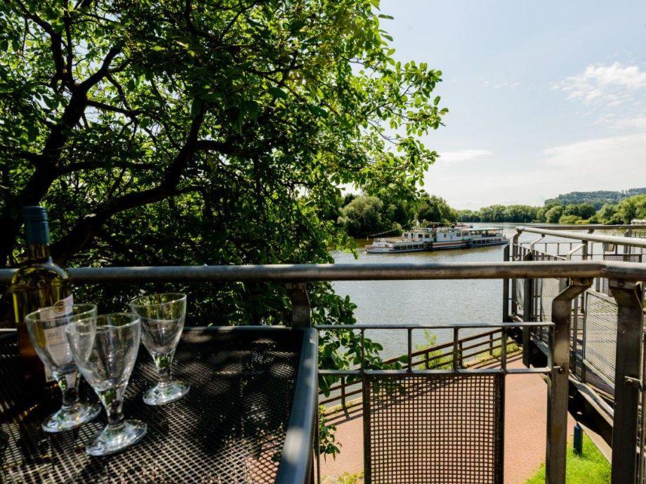 Balkon mit Weserblick