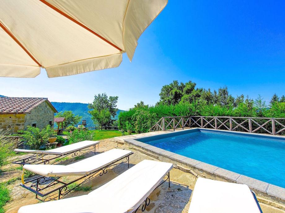 Pool mit Ferienhaus