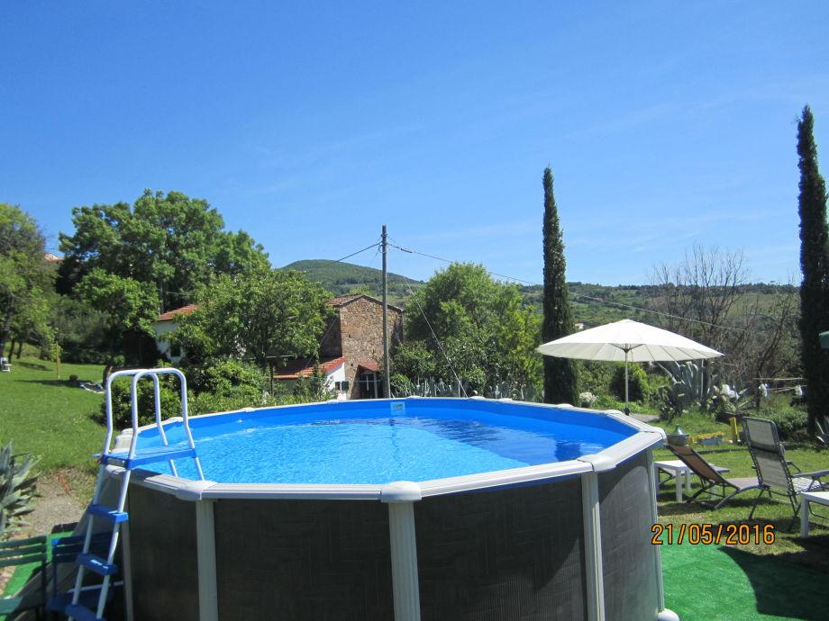 Blick vom neuen Pool in Richtung Casa Il Cuculo