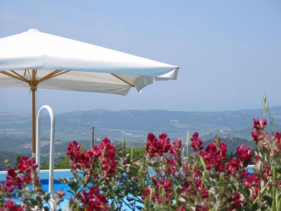 Blick vom Pool in die herrliche tosk. Landschaft