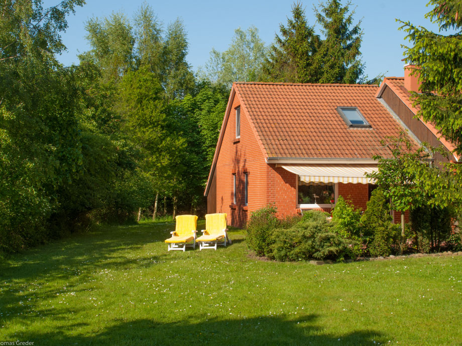 Ferienhaus Greder mit Blick auf die Terrasse