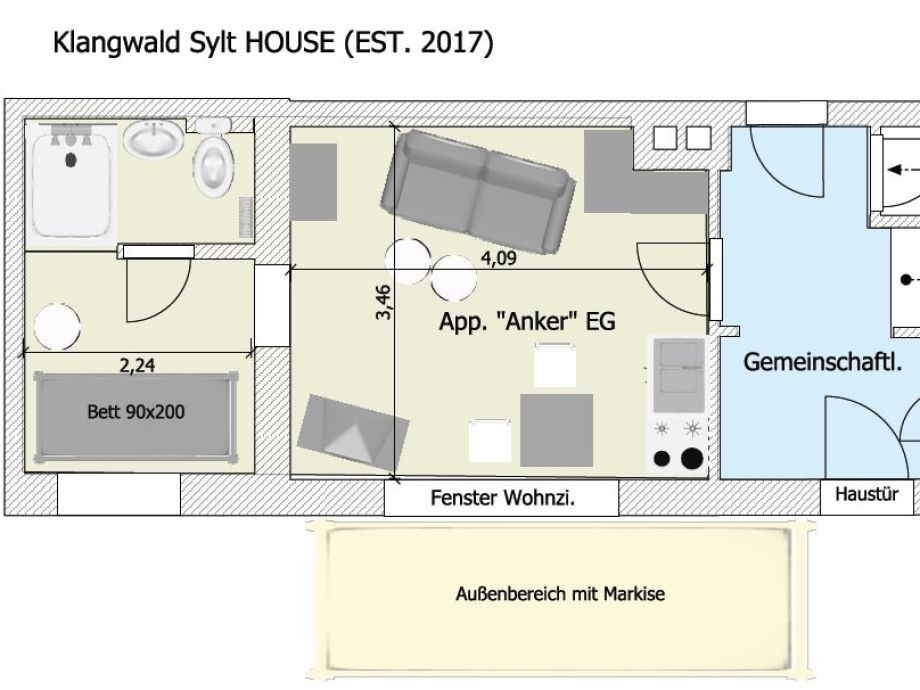 apartment anker im kirchenweg nordsee sylt westerland alt westerland firma klangwald. Black Bedroom Furniture Sets. Home Design Ideas