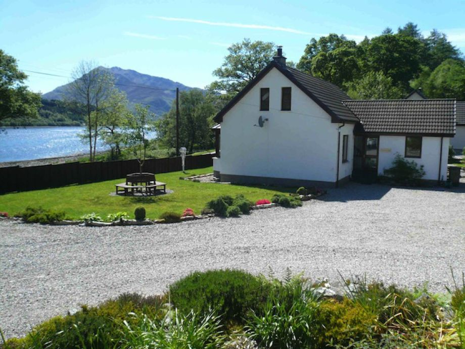 View of Loch Leven from exterior of cottage