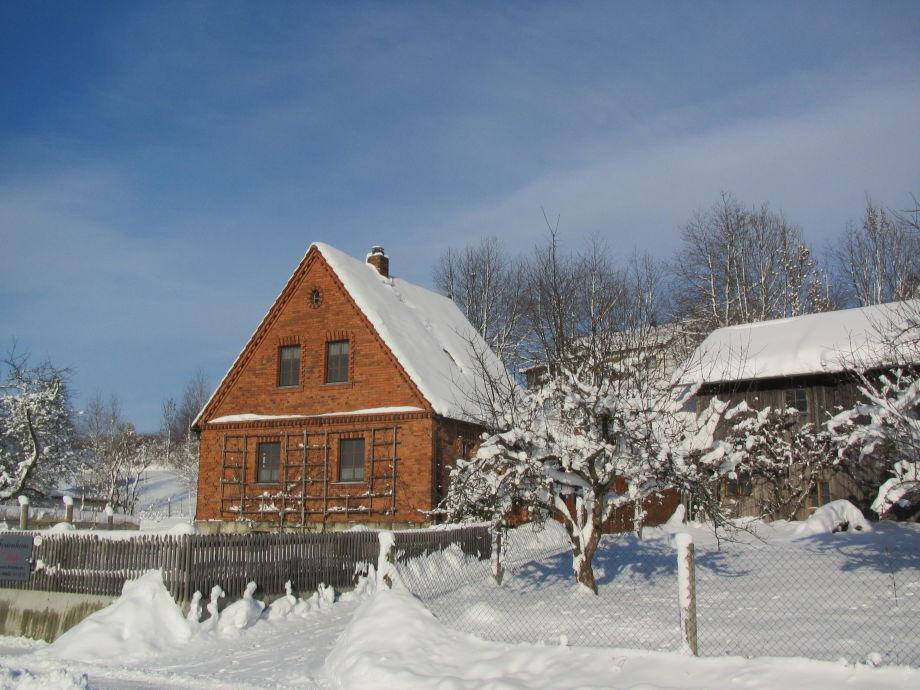 Ferienhaus Birke bei Schnee