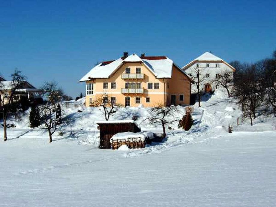 Das Ferienhaus im Winter mit Umgebung