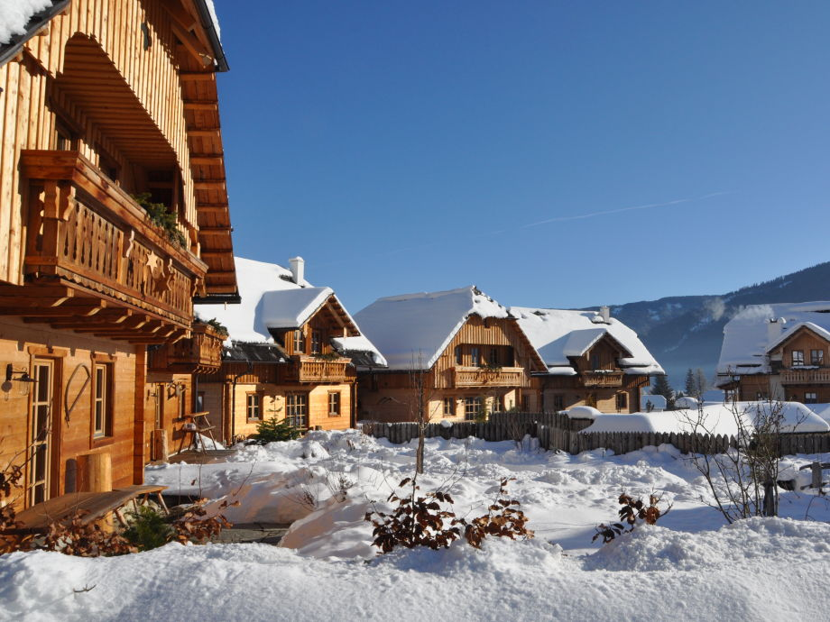 St Martin Chalets on a sunny day in winter