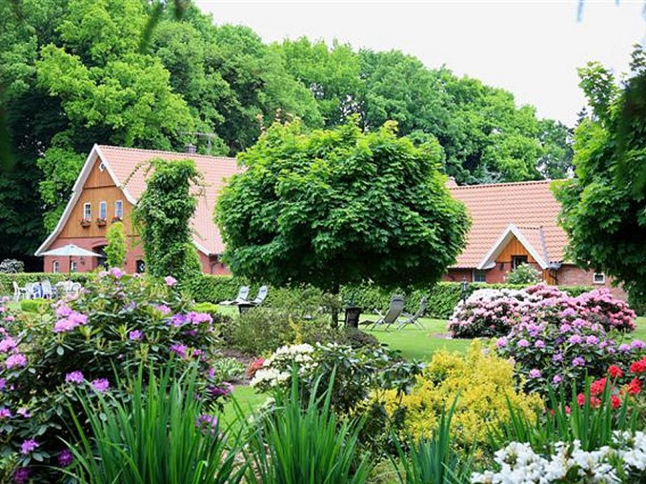 Das Ferienhaus in der Plütenpracht des Gartens