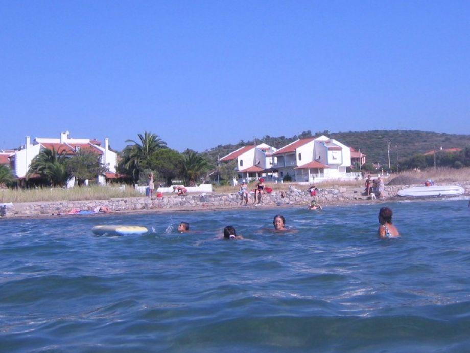 Strand und Häuser