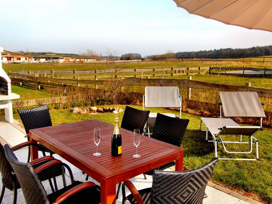 Ausblick von der Terrasse / Garten auf die Pferdekopppel