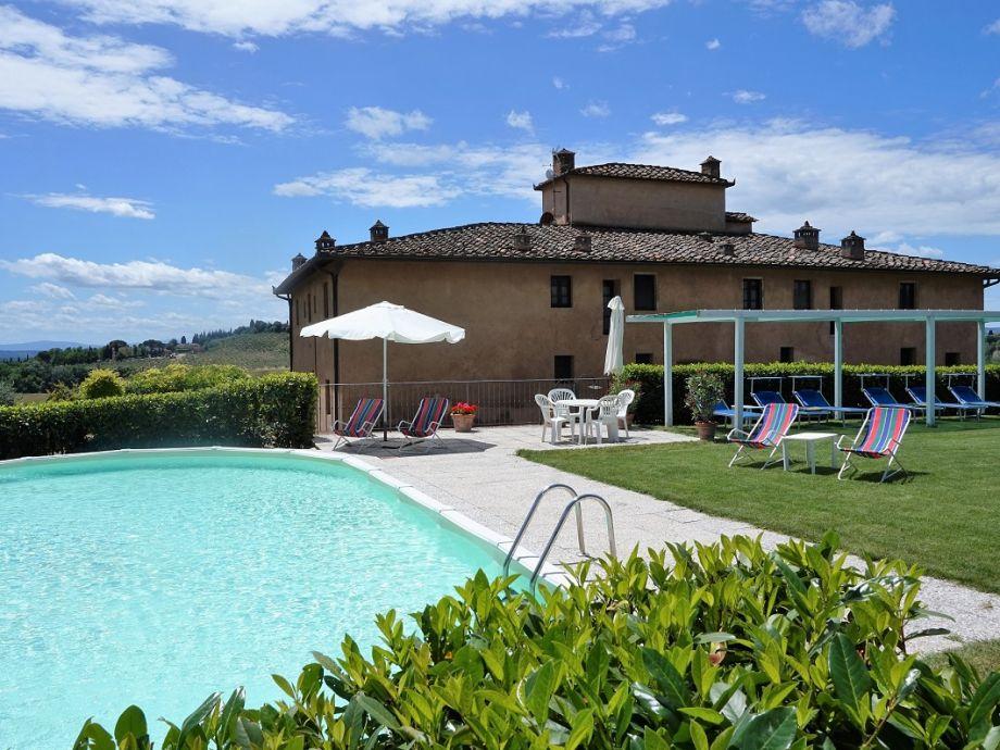 Ferienhaus in der Toskana, Liegewiese mit Pool