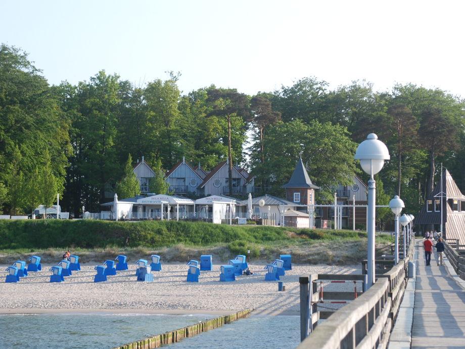 Blick von der Seebrücke auf die Anlage Seeblick