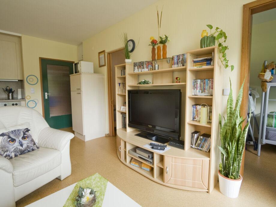 Wohnzimmer mit Mediawand, Flat-Sreen-TV und vielen DVD`