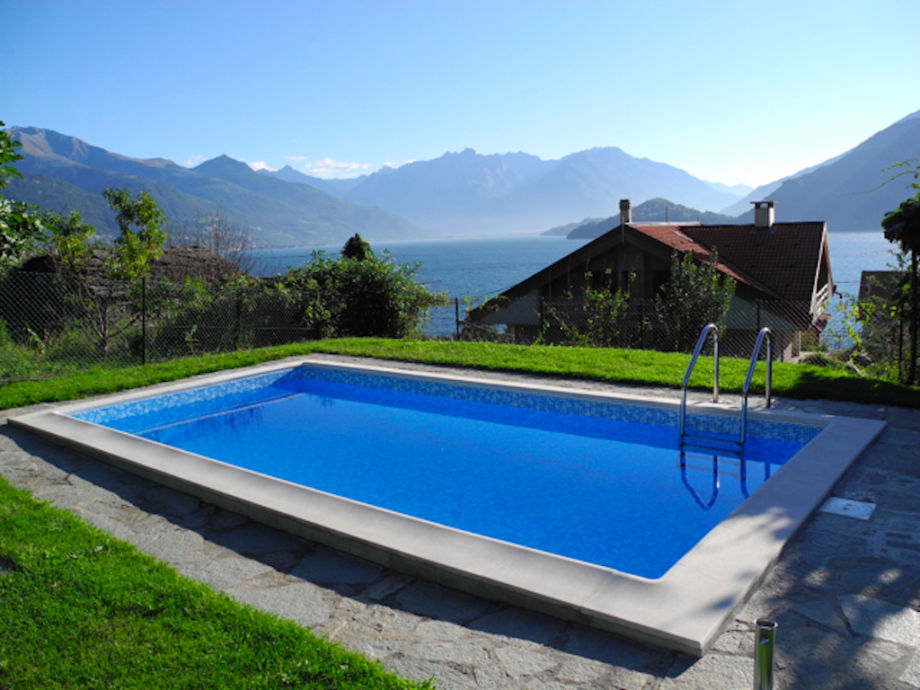 Pool with lake view