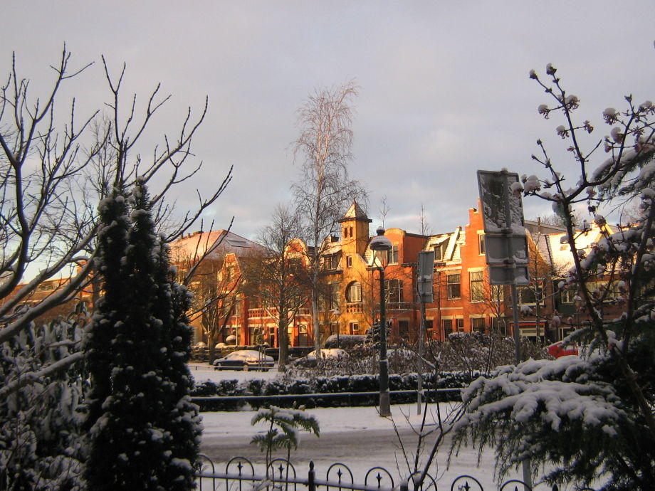 The old neighbour houses in wintertime