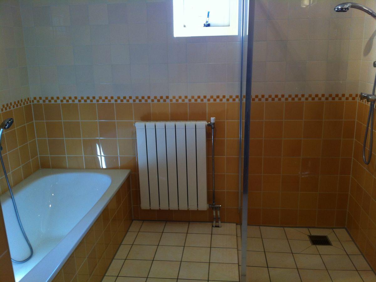 Ferienwohnung mienthuis de koog texel firma landgoed - Badezimmer mit dusche und badewanne ...
