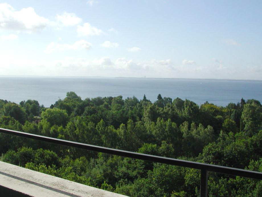Blick von Balkon und Wohnzimmer