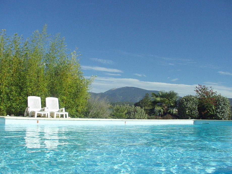 Pool (7x12 m) mit Blick auf den Mont Ventoux