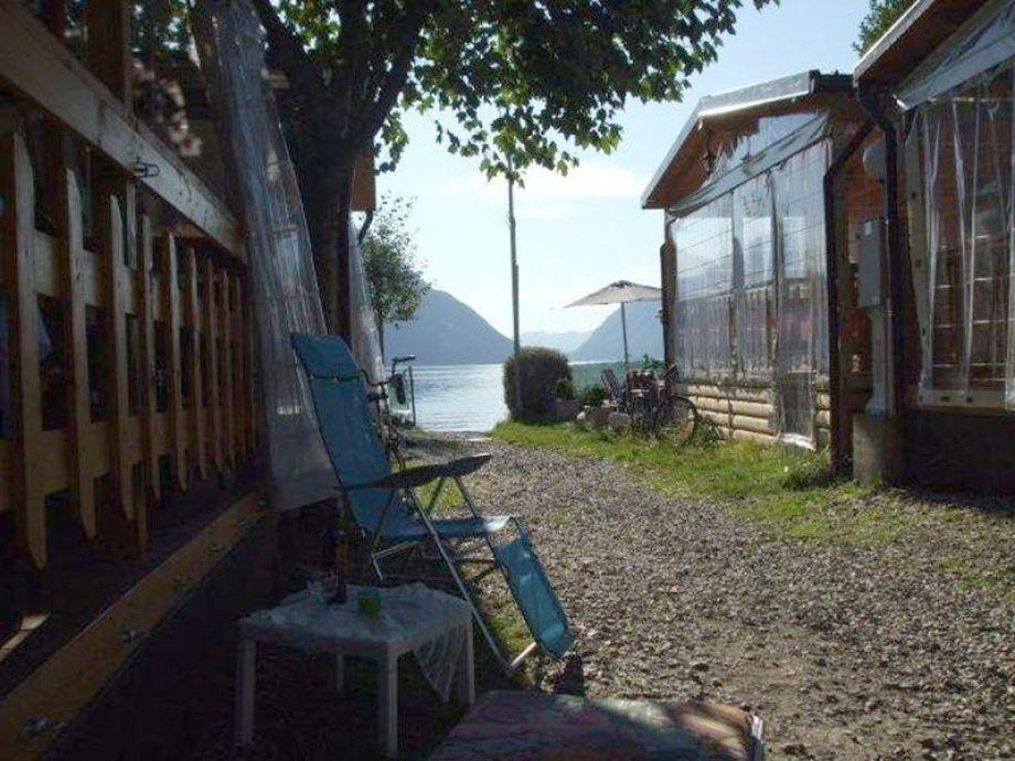 Seeblick vor dem Chalet, neben der Veranda
