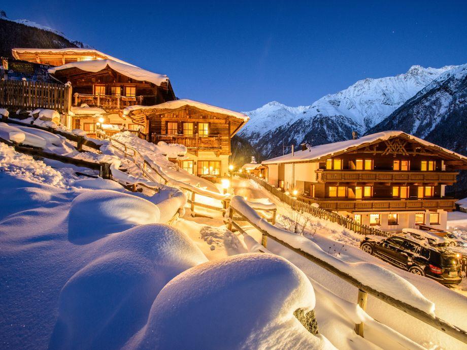 Winter view of Grünwald Resort Sölden