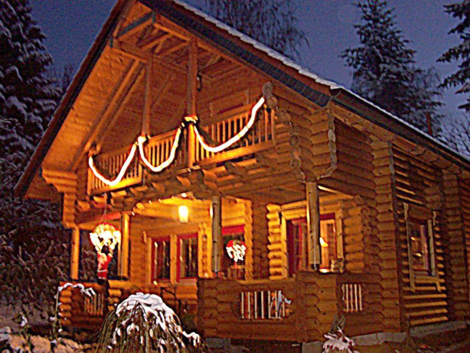 Blockhaus in der Winterzeit