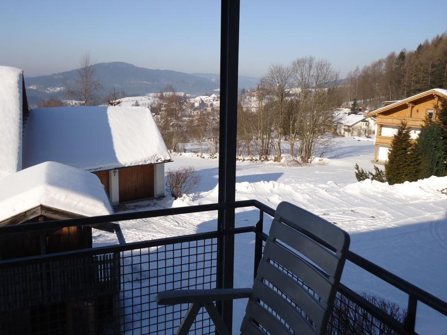 Die Aussicht vom Balkon im Winter