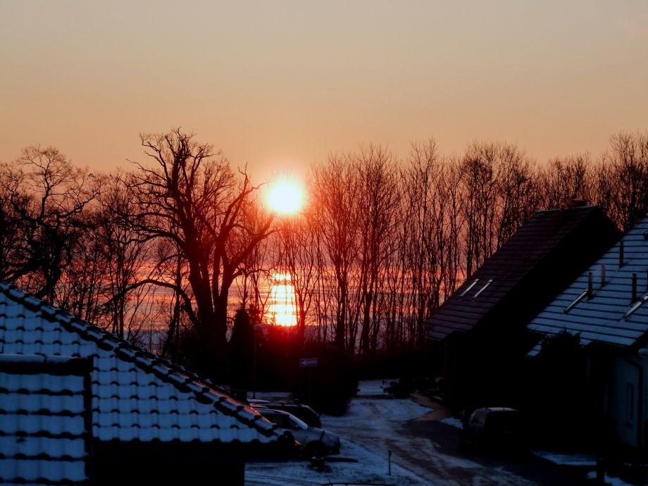 Sonnenuntergang über der Müritz vom Balkon gesehen