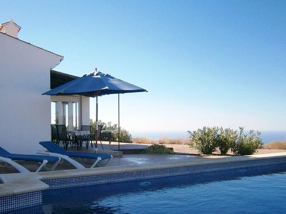 Der Poolbereich am Haus mit Meerblick