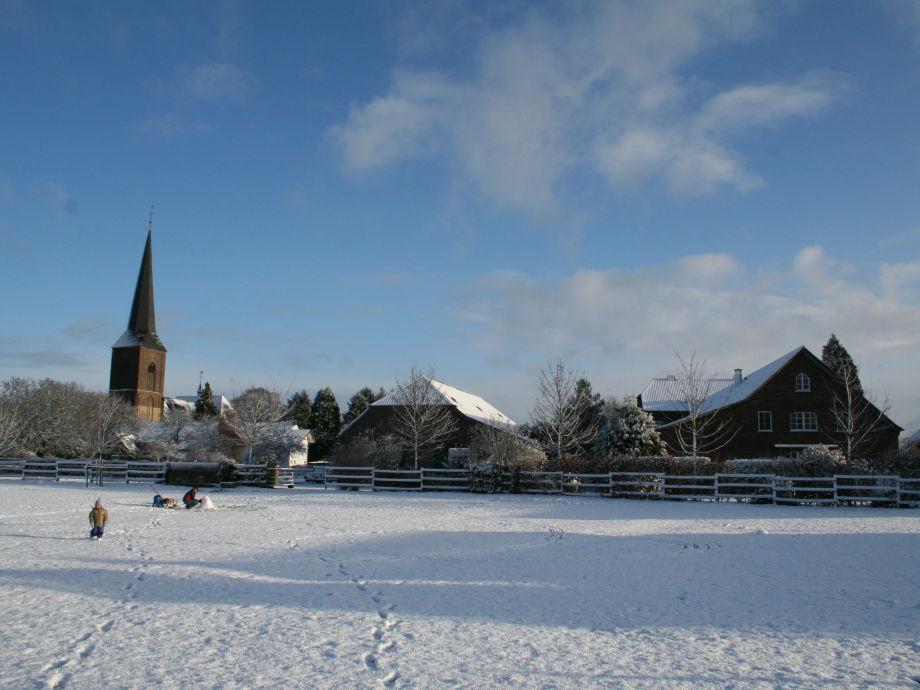 Timmermannshof, Rückseite bei Schnee