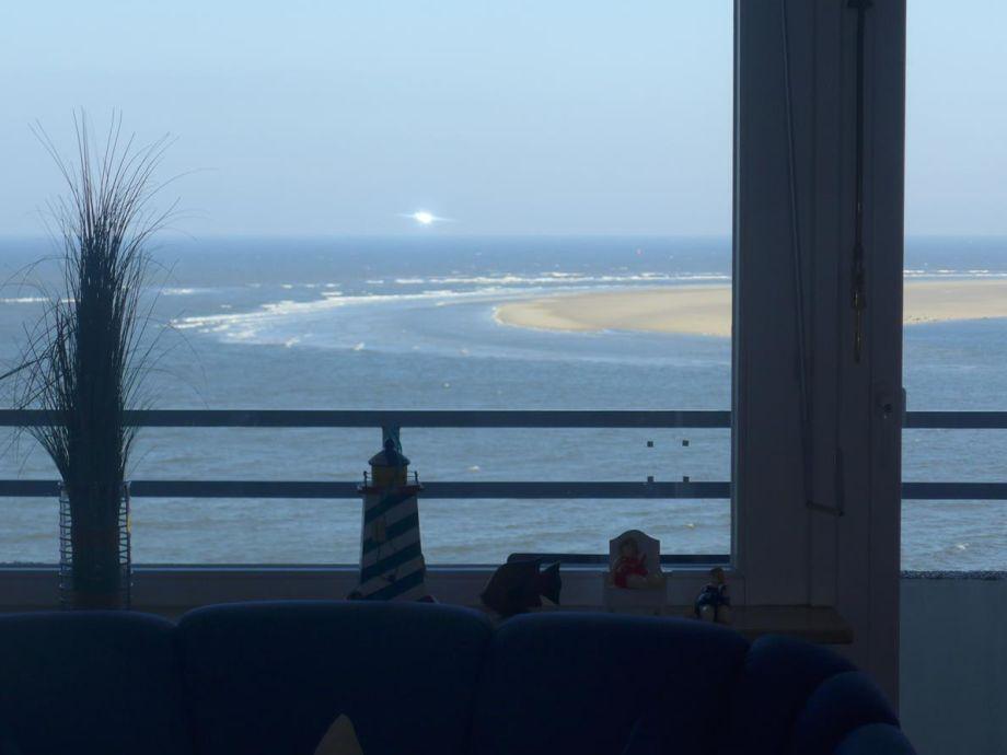 Toller Blick aus dem Wohnzimmer auf die Seehundsbank