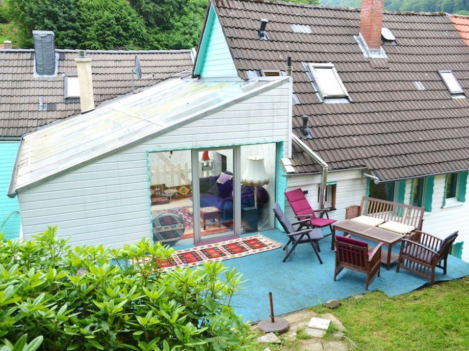 Garten, Terrasse mit Blick in die Galerie