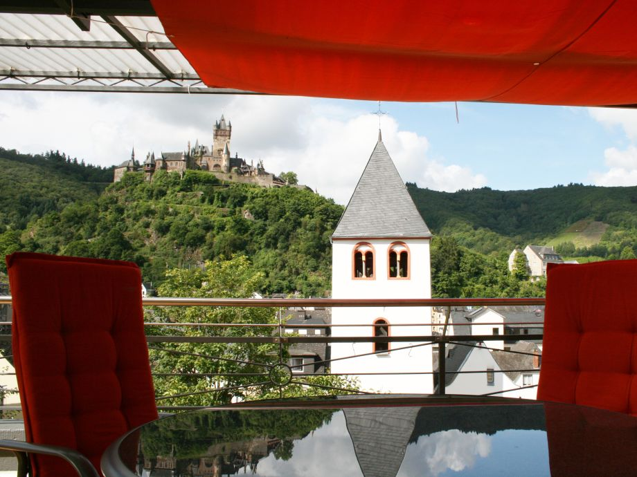 View of Cochem Castle from the balcony