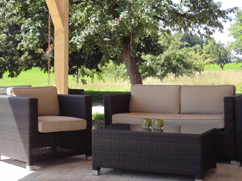 Loungesitzgruppe auf der Sonnenterrasse