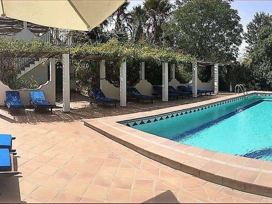 Großer Pool (12x6 m) mit Terrassen und Sonnenliegen