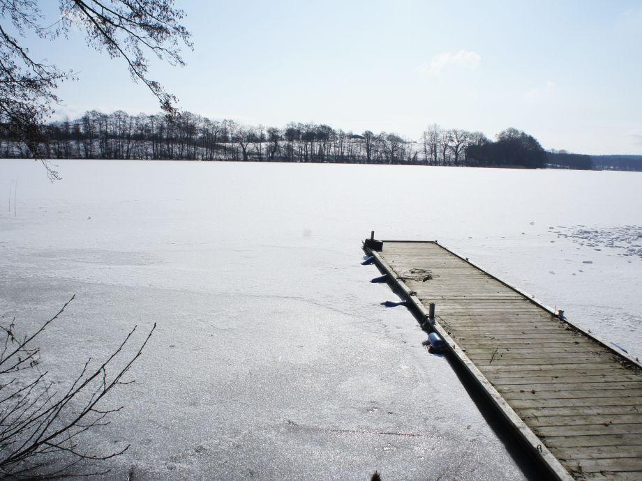 Eisangeln, Wintermärchen, Ferienhaus am See