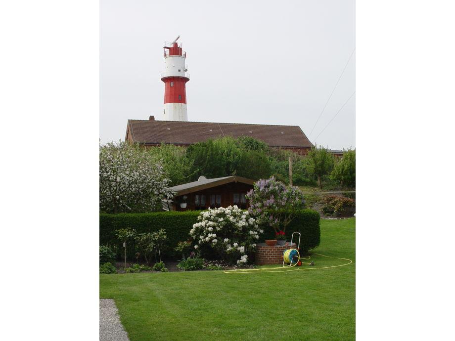 Gartenansicht mit Leuchtturm