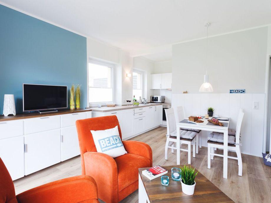 """Wohnbereich mit offener Küche Ferienwohnung """"Blauort"""""""