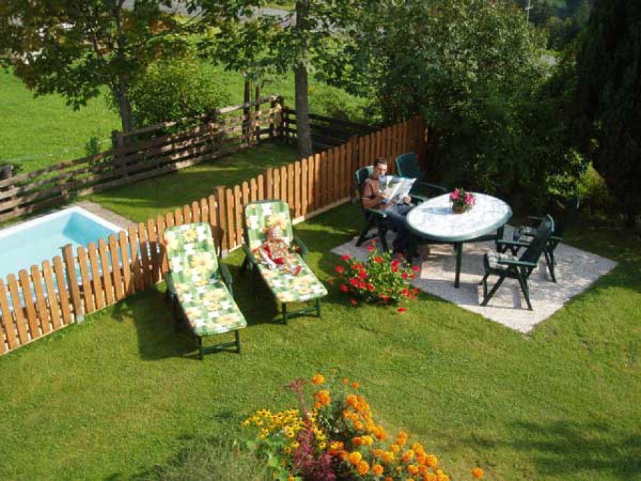 Ferienwohnung landhaus oberlehen abtenau frau sabine for Gartenpool mit rutsche
