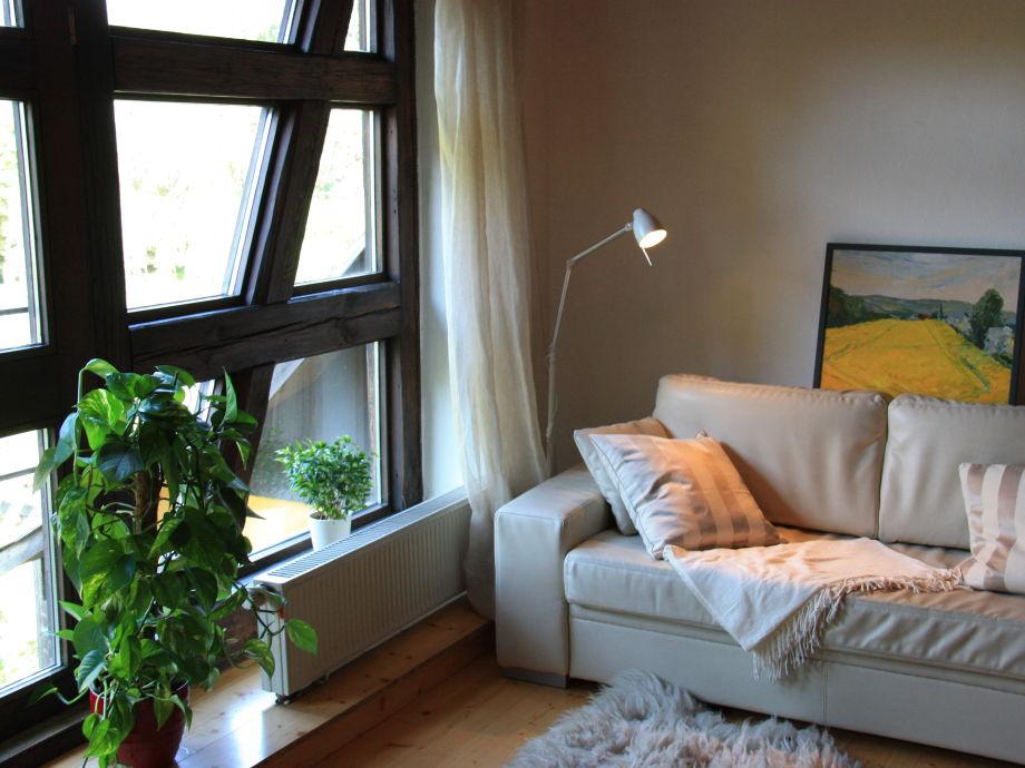 Wohnzimmer-gemütliches  Lederschlafsofa für zwei