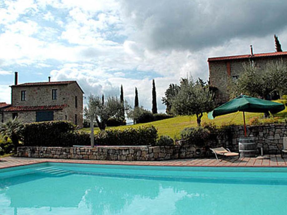 Der Pool liegt unterhalb der beiden Häuser