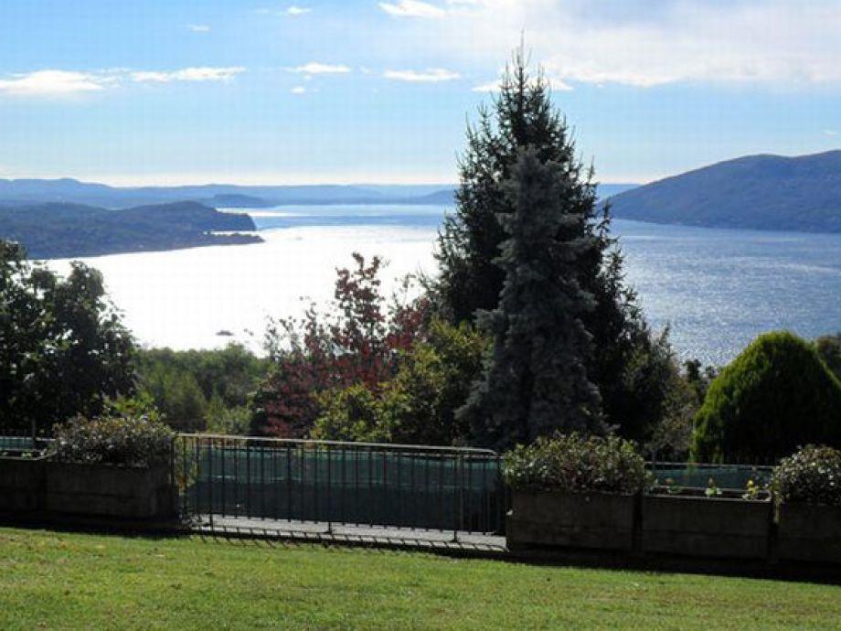 Panoramasicht auf den See und die Berge