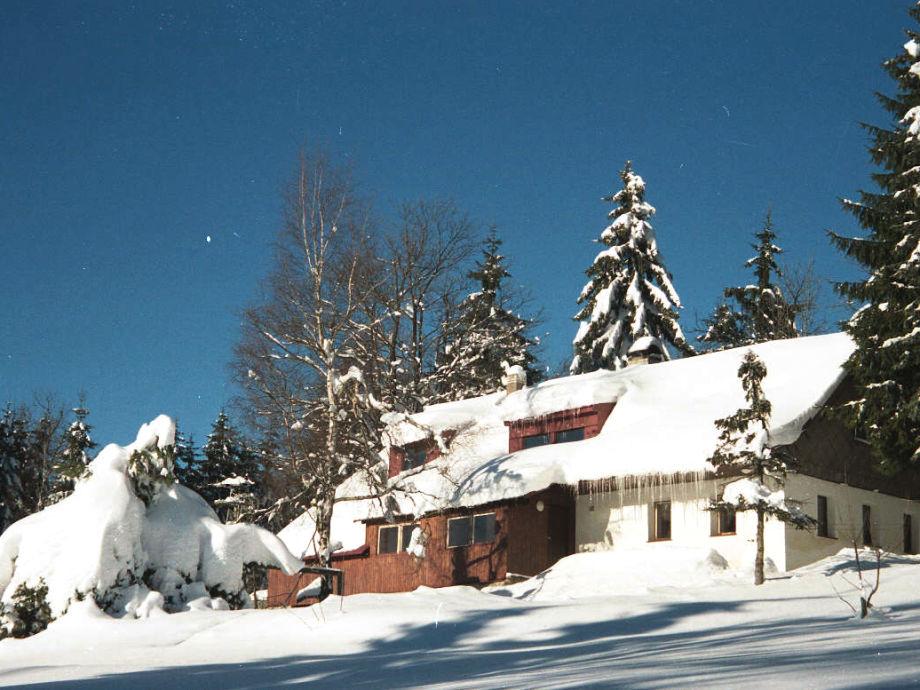 Außenansicht Winter mit Garten