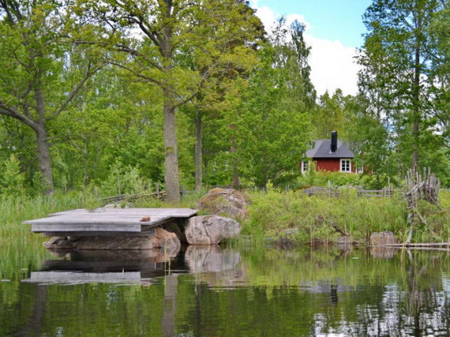 """""""Haus Kolarhytten"""" (Blick vom See zum Haus)"""